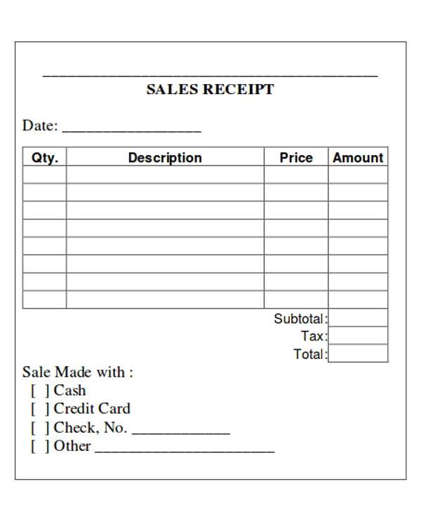 Sales Receipt Template Pdf 5 Printable Sales Receipt Samples Sample Templates