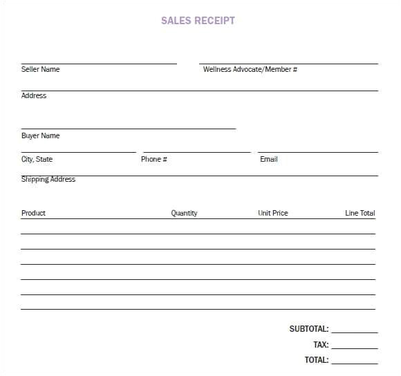 sales receipt templates