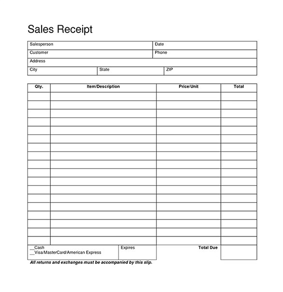 Sales Receipt Template Pdf Blank Receipt Template 20 Free Word Excel Pdf Vector