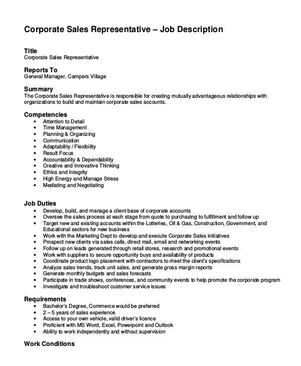 sample sales job description