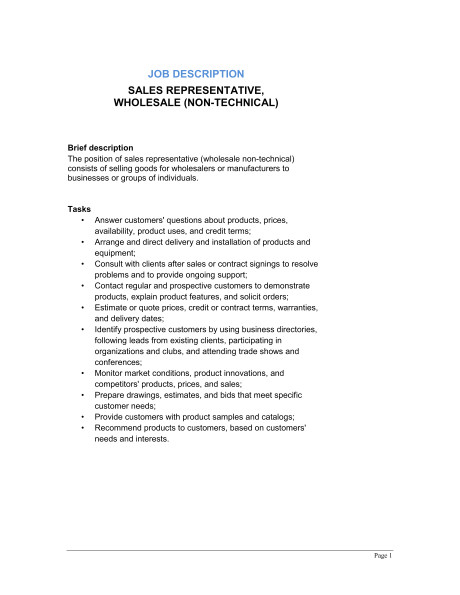Sales Rep Job Description Template Sales Representative wholesale Non Technical Job