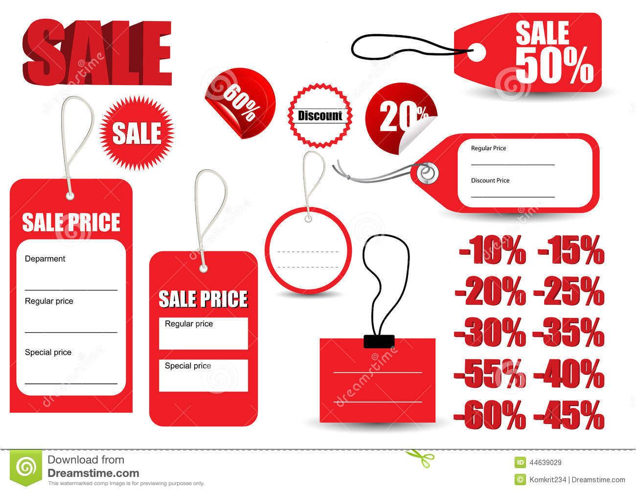 Sales Tags Template Template Sale Red Tag Symbol Stock Vector Illustration