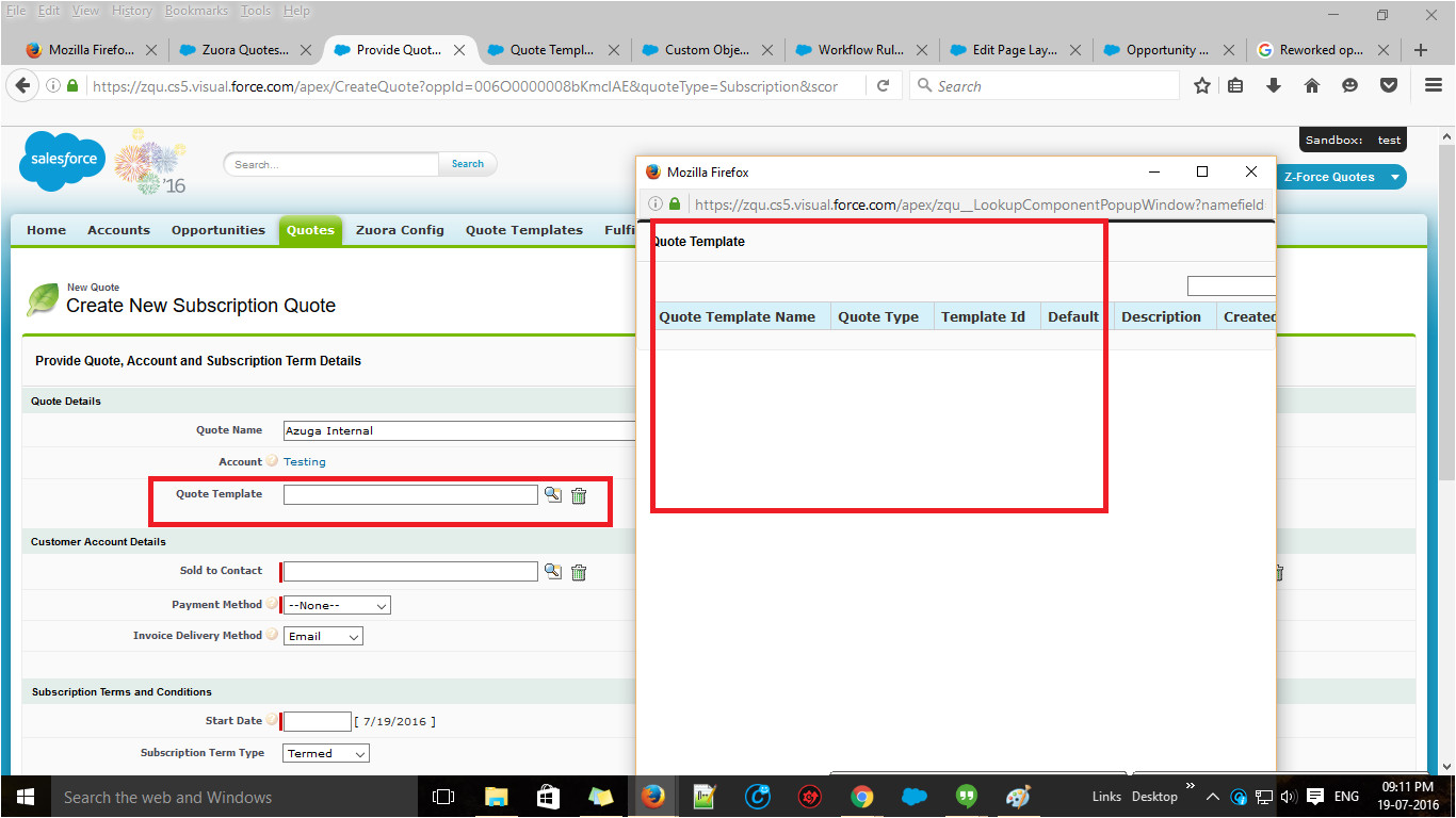 unable to retrieve quote templates and products information in salesforce develo