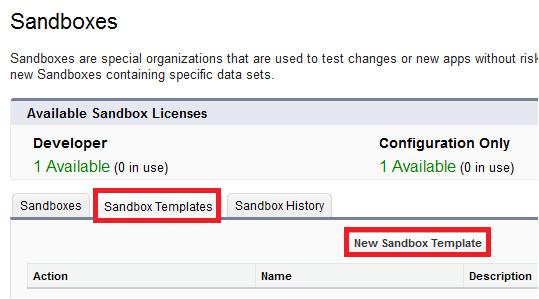sandbox templates in salesforce