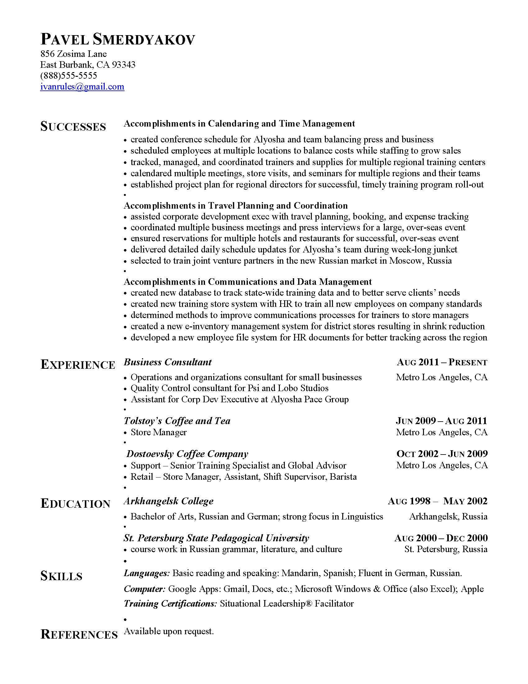 Sample Achievements In Resume for Experienced Achievement Resume