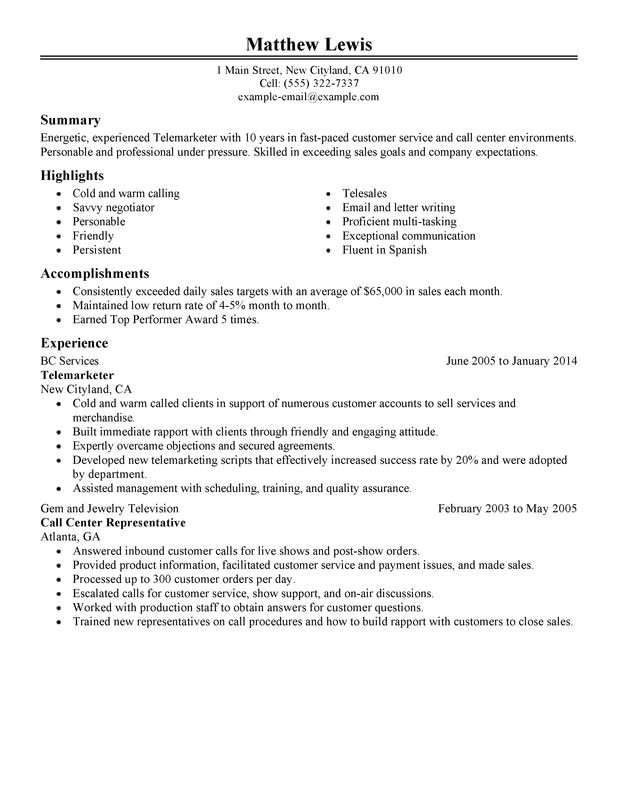 experienced telemarketer resume sample