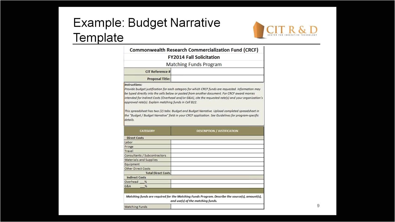 Sample Budget Narrative Template Crcf Fy2014 Fall solicitation Completing the Budget