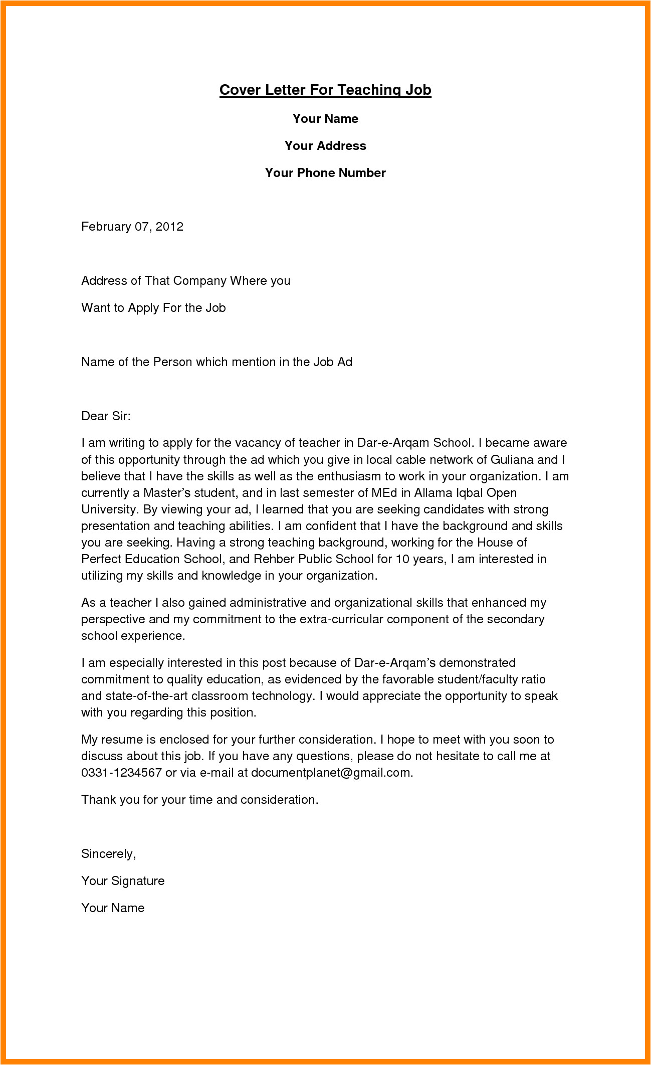 Sample Cover Letter for A Teaching Position with No Experience 12 Employment Letter as A Teacher Bike Friendly Windsor