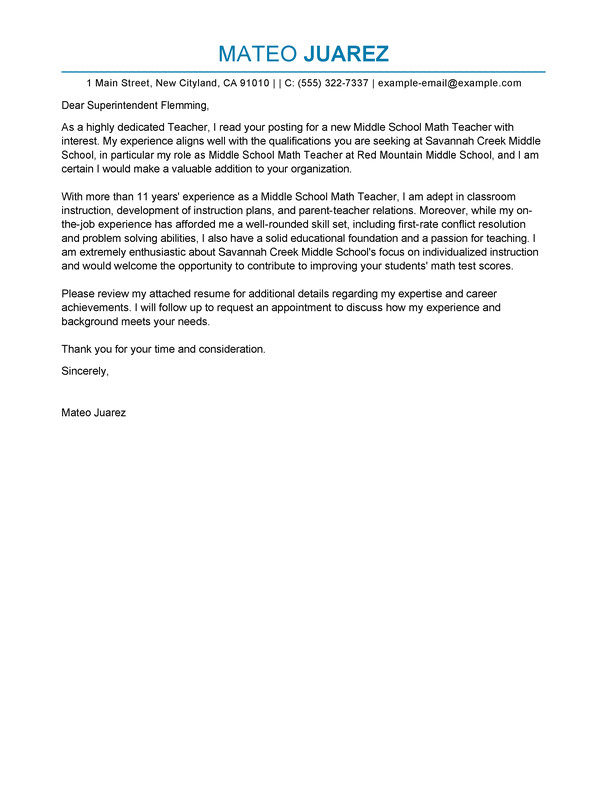 Sample Cover Letter for A Teaching Position with No Experience Best Teacher Cover Letter Examples Livecareer