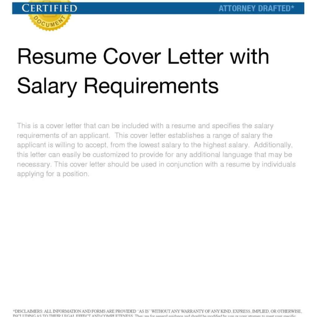 well cover letter salary requirements