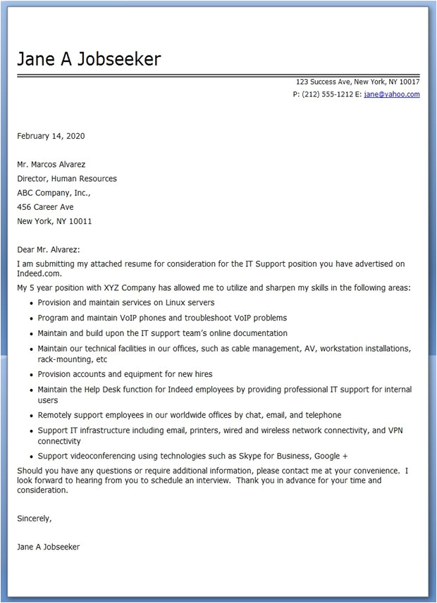 it professional cover letter examples