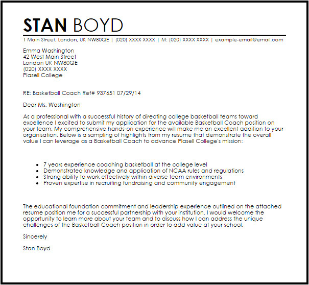 Sample Cover Letter for Basketball Coaching Position Basketball Coach Cover Letter Sample Cover Letter