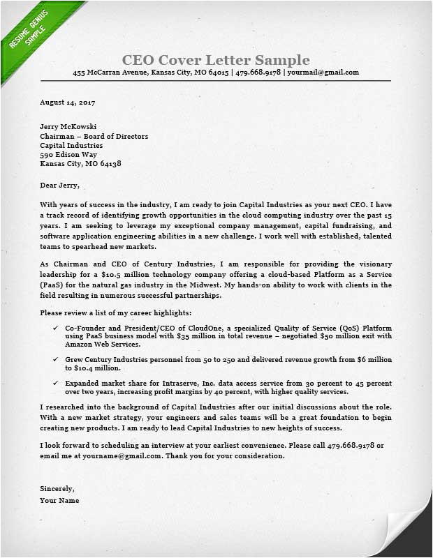 executive cover letter samples
