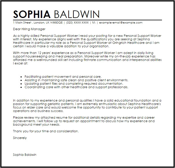 Sample Cover Letter for Community Support Worker Cover Letter for Support Worker Letter Of Recommendation