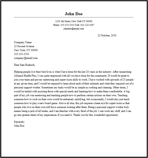 cover letter for support worker