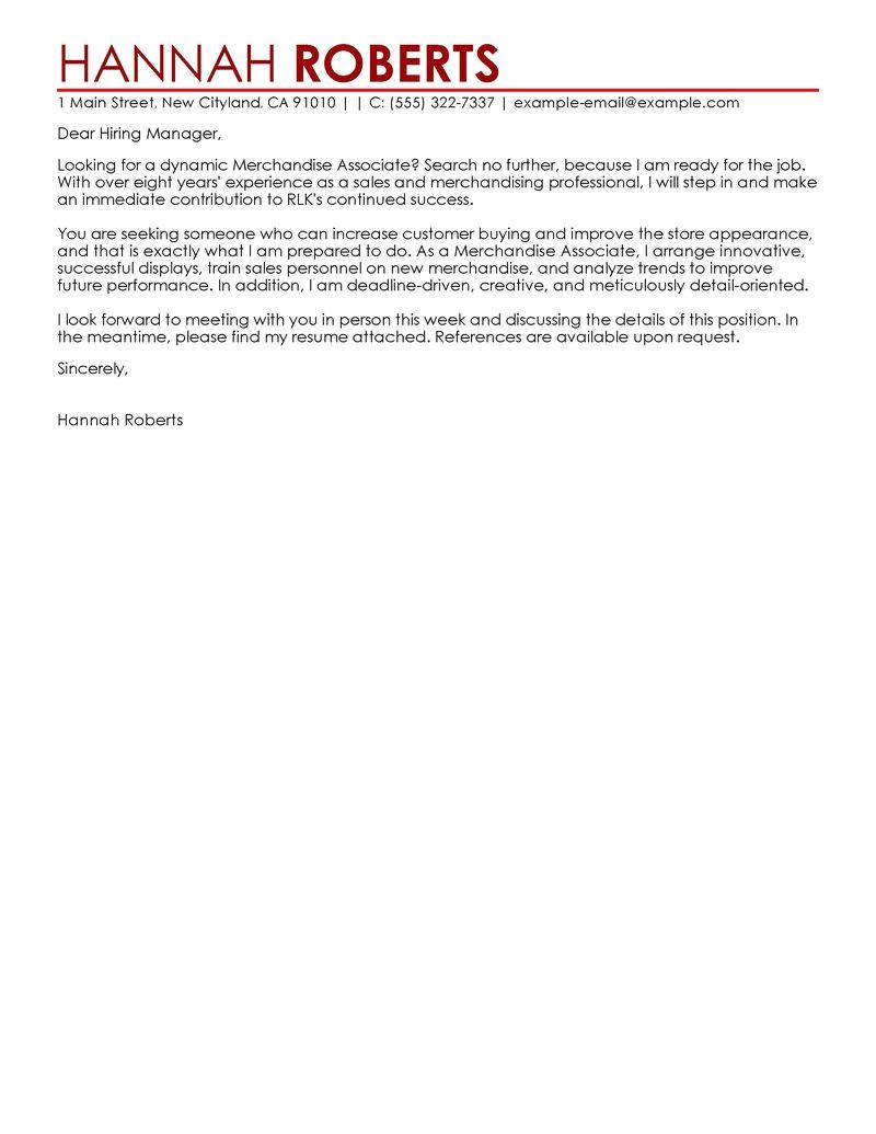 Sample Cover Letter for Customer Service associate Merchandise associate My Perfect Cover Letter
