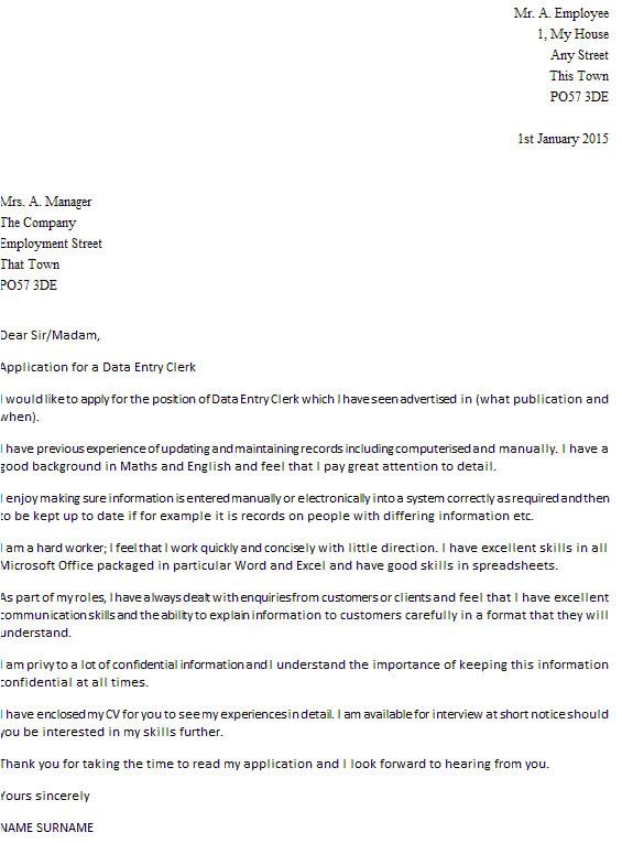 data entry clerk cover letter example