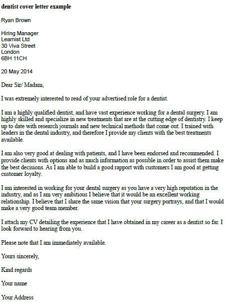 dental cover letter