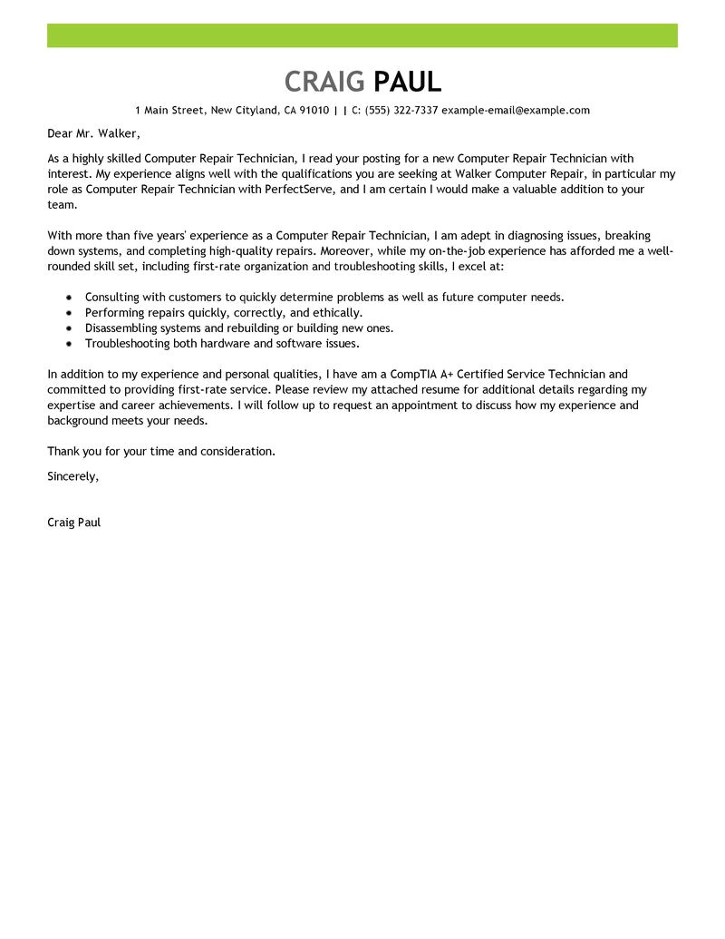 computer repair technician cover letter sample