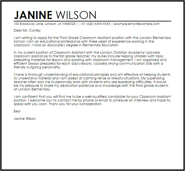 Sample Cover Letter for Educational assistant Classroom assistant Cover Letter Sample Cover Letter