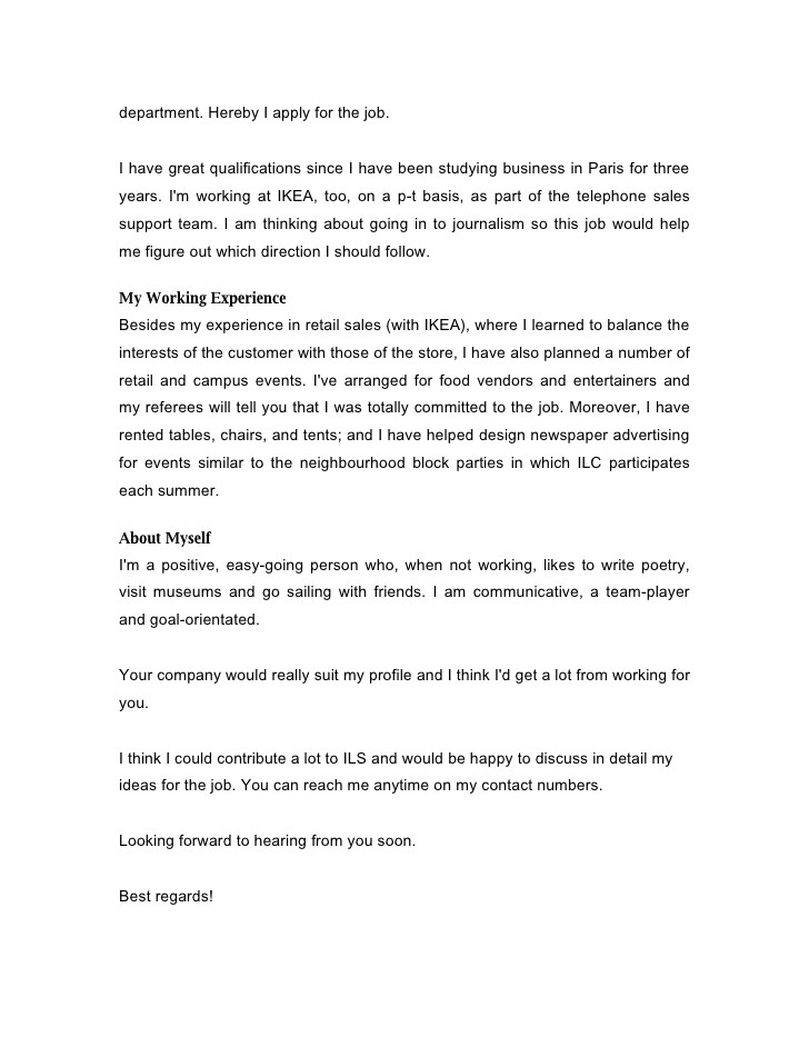 cover letter for on campus job