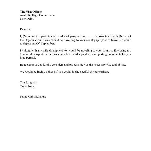 Sample Cover Letter for Embassy Job Sample Letter for Visa Application to Embassy