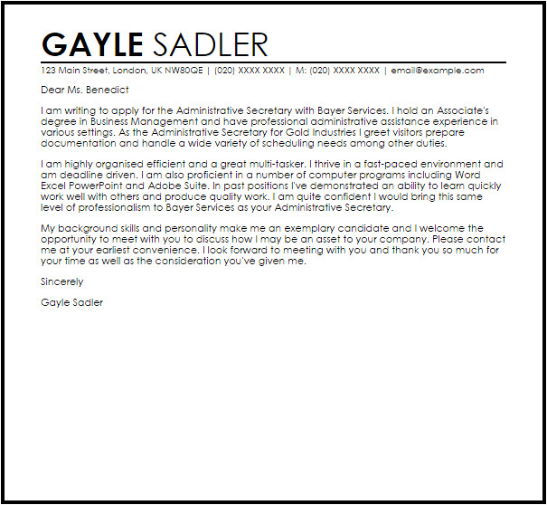 Sample Cover Letter for Executive Secretary Position Administrative Secretary Cover Letter Sample Cover