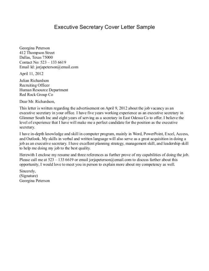 Sample Cover Letter for Executive Secretary Position School Secretary Cover Letter Resume Badak