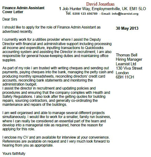 finance admin assistant cover letter example
