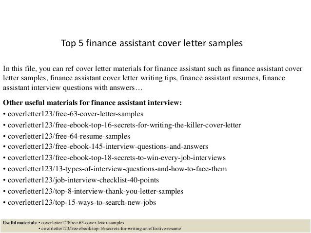 top 5 finance assistant cover letter samples