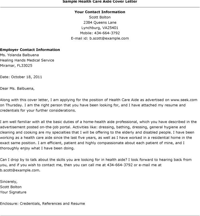 healthcare cover letter example