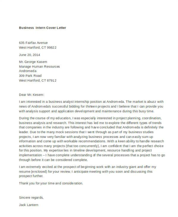 Sample Cover Letter for Hr Internship 9 Internship Cover Letter Free Sample Example format