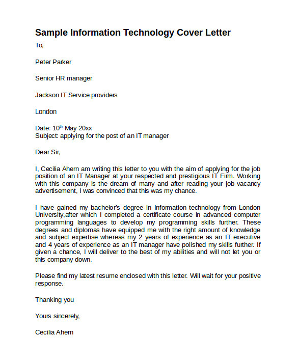 Sample Cover Letter for Information Technology Job 8 Information Technology Cover Letter Templates to