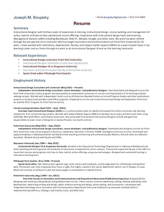 instructional developer cover letter