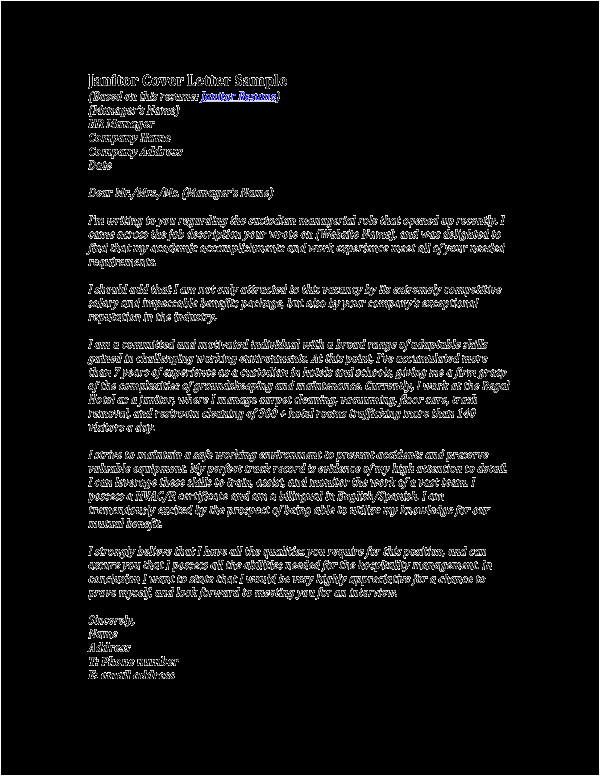 application letter for janitorial position