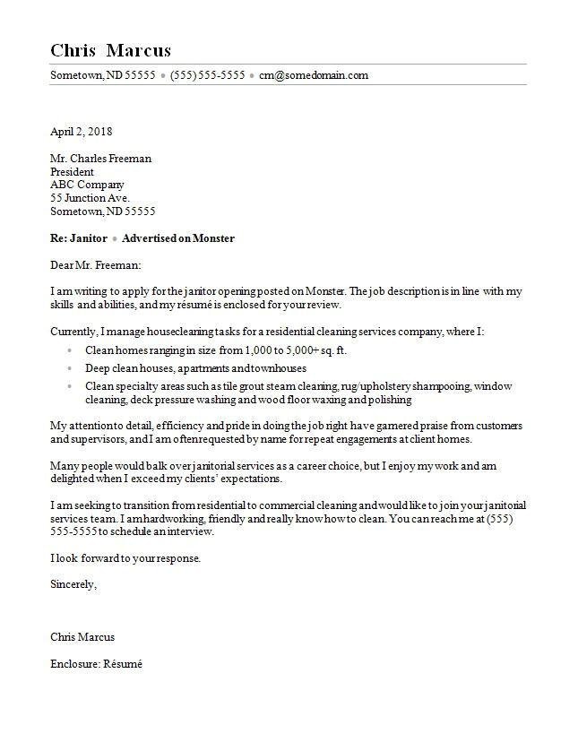 Sample Cover Letter for Janitor Position Janitor Cover Letter Sample Monster Com