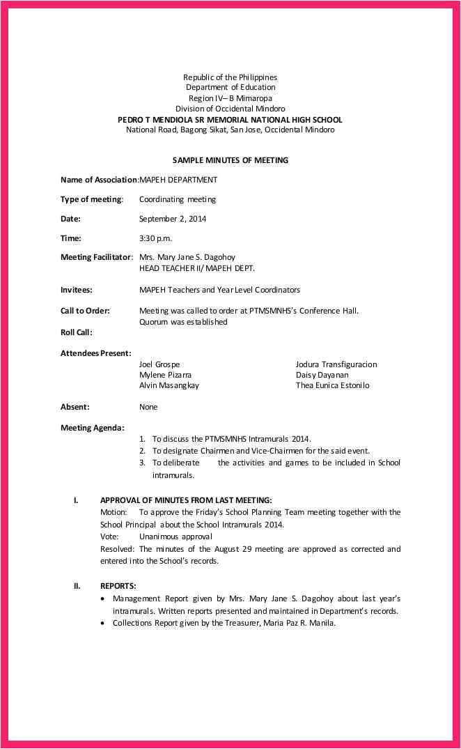 Sample Cover Letter for Minutes Of Meeting Example Of Meeting Minutes Bio Letter format