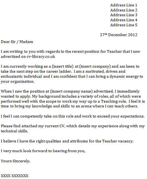 cover letter for a teacher