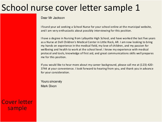 Sample Cover Letter for School Nurse Position School Nurse Cover Letter
