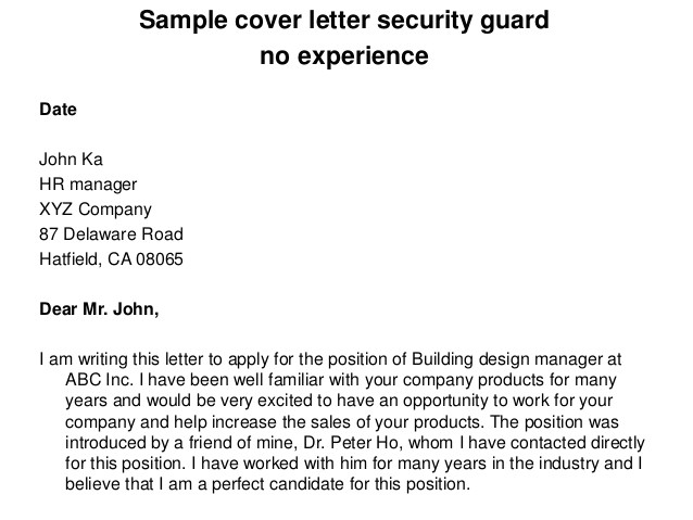 Sample Cover Letter for Security Guard with No Experience Sample Cover Letter Security Guard No Experience