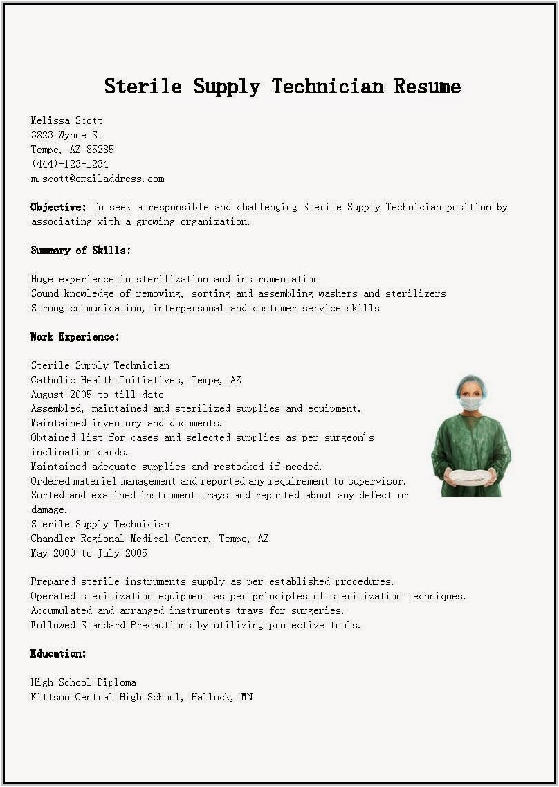 cover letter for sterile processing technician 3944