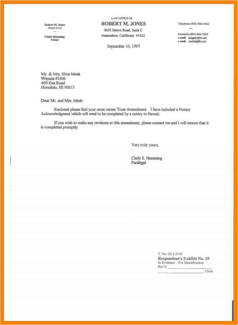 sample letter of sending documents
