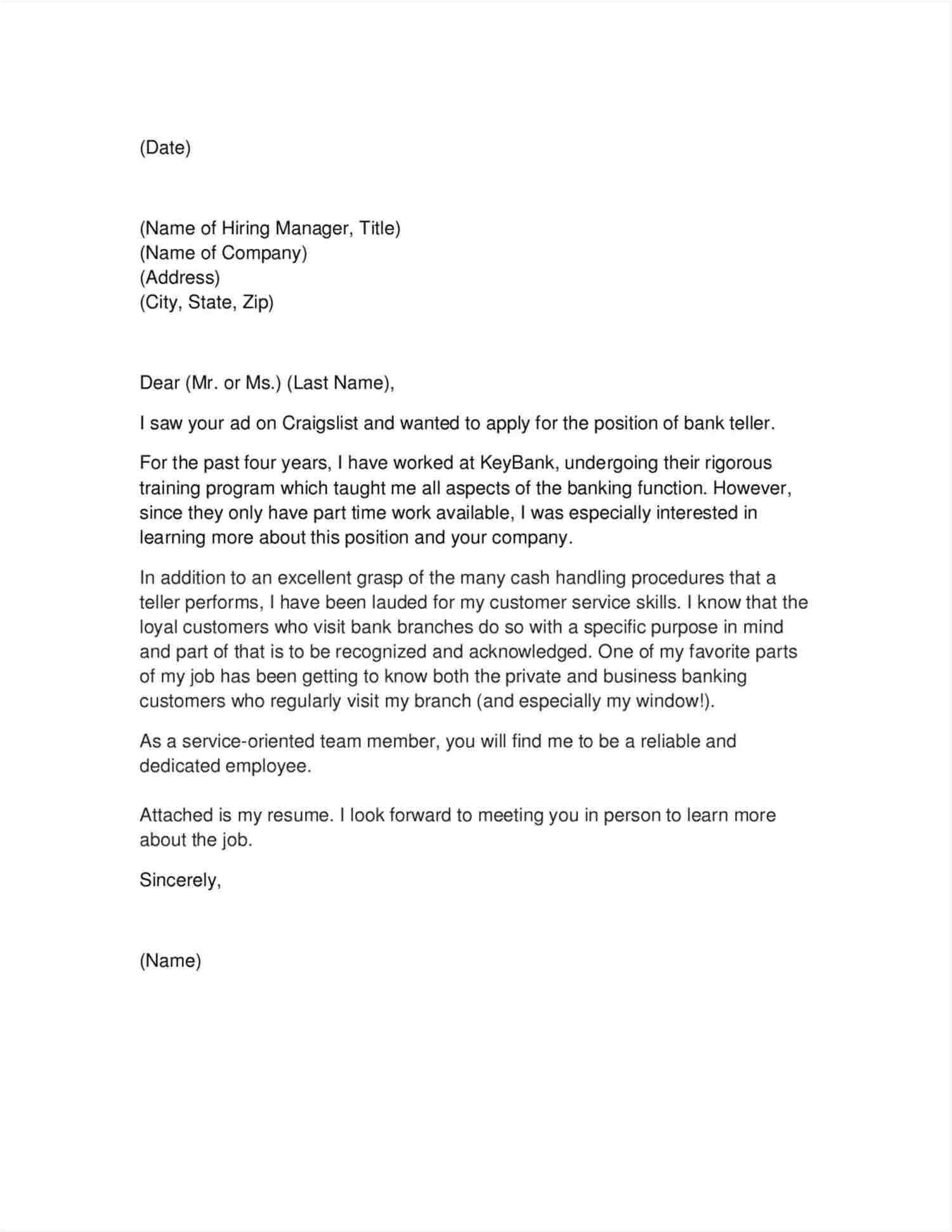 Sample Cover Letter for Teller Position with No Experience Sample Cover Letter for Teller Position with No Experience