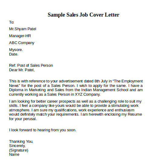 Sample Cover Letters for Sales Jobs 12 Cover Letter Examples Pdf Word Sample Templates