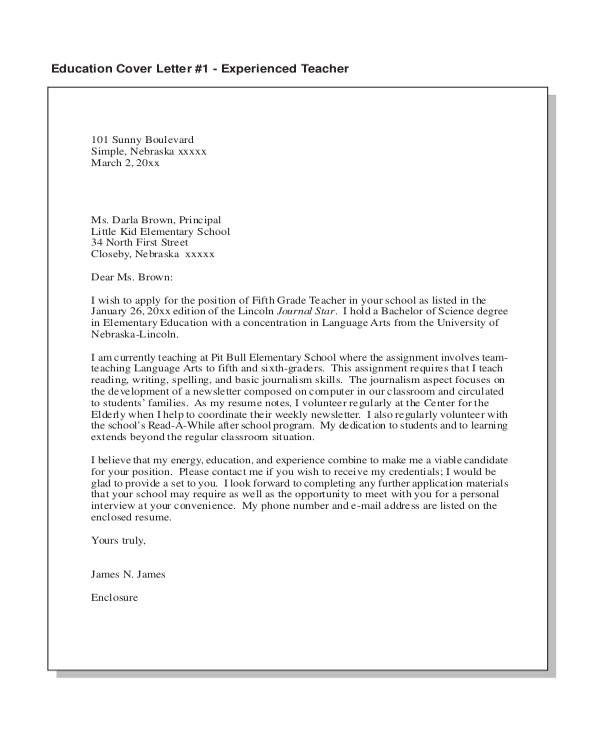 Sample Cover Letters for Teachers with No Experience Sample Teacher Cover Letter 15 Free Documents In Pdf Doc