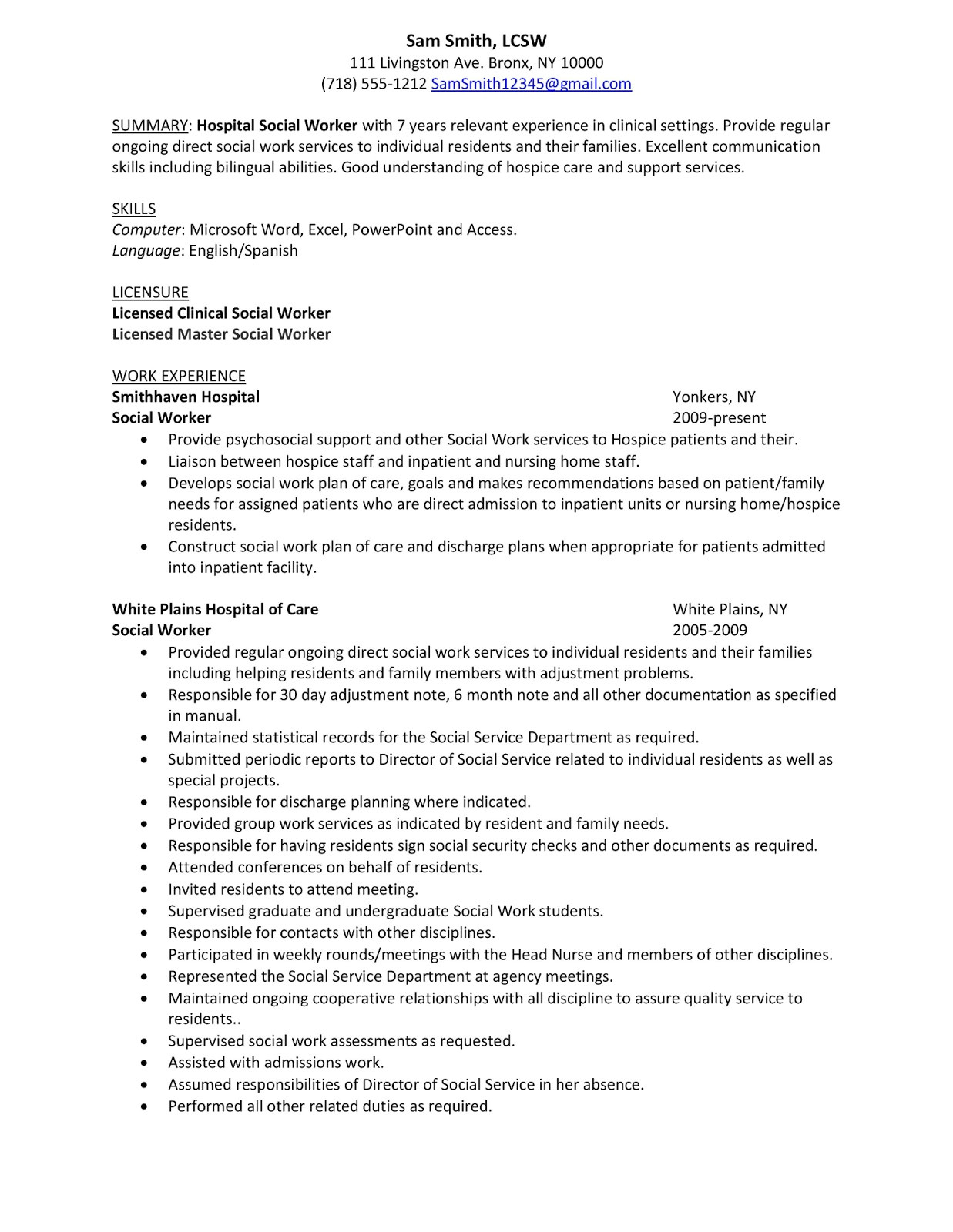Sample Letter Of Resume to Work Summary Sample Hospital social Work Resume Examples with