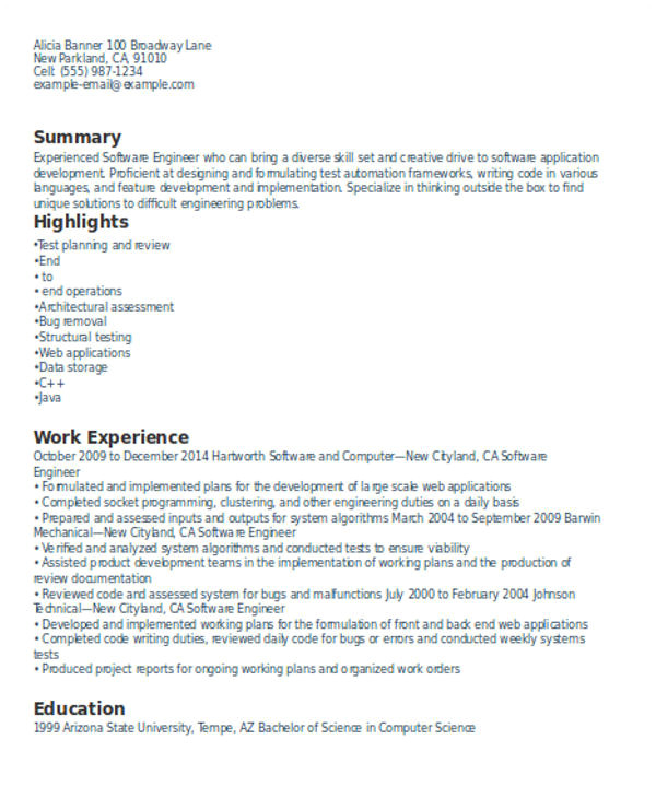 experienced resume format template