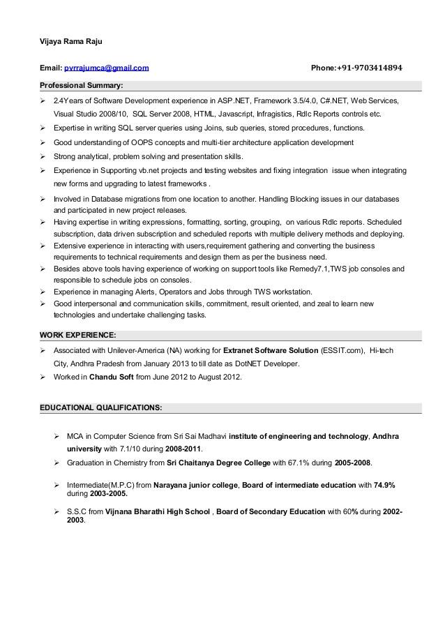 dot net experience resume