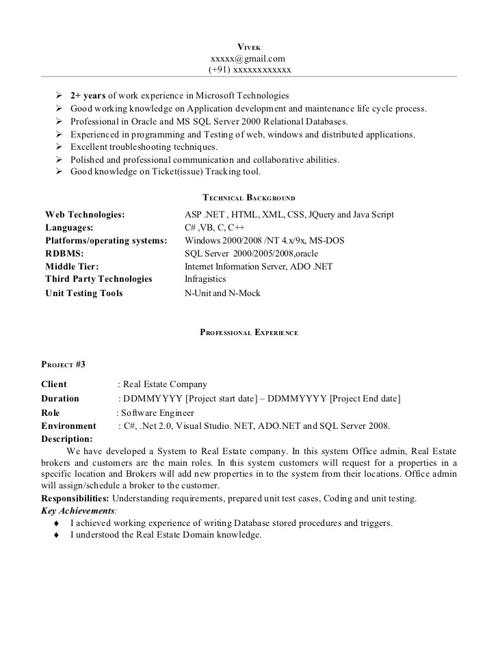 Sample Net Resumes for Experienced Net Experience Resume Sample