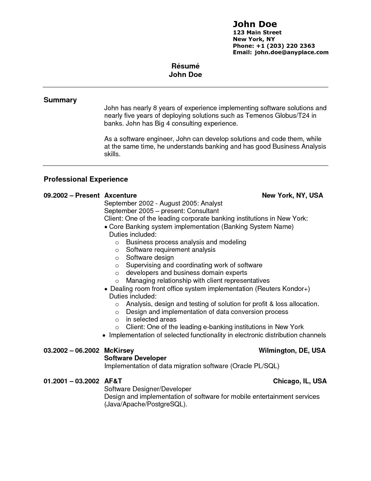resume experience 893